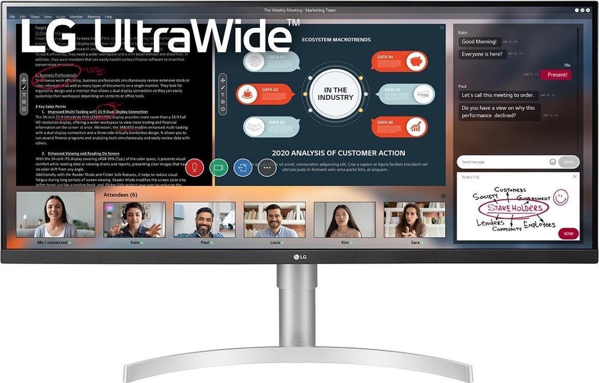 LG 34WN650-W LED display 86,4 cm (34'') 2560 x 1080 Pixels UltraWide Full HD Wit kopen