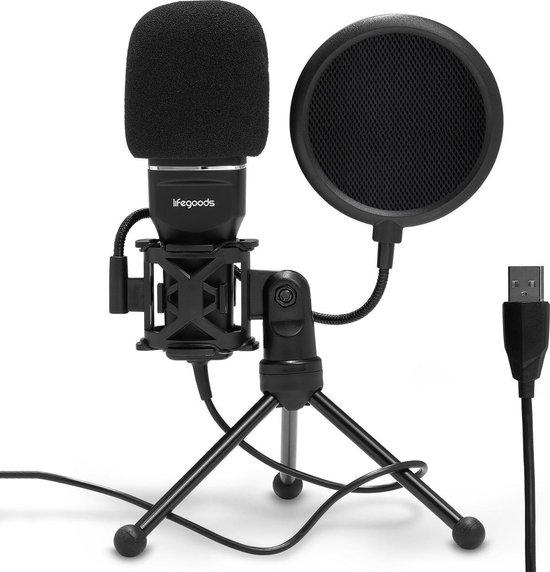 LifeGoods USB Microfoon met Statief - Geschikt voor PC, Laptop, Playstation - Zwart