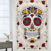 Gekleurde Schedel Wandkleed - The Day Of The Death Skull - Wandkleed - Wanddecoratie - Wanddoek - 150x130CM