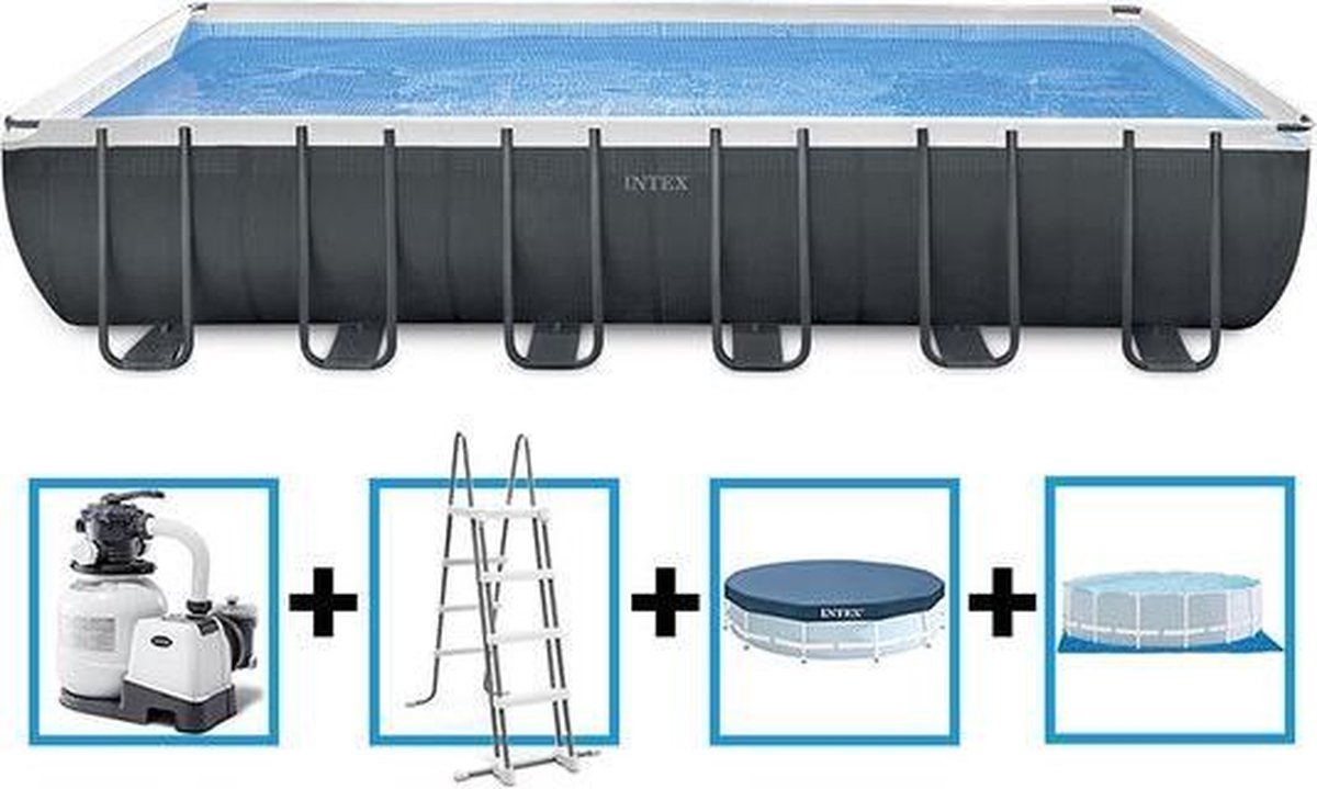 Intex Ultra Frame rechthoek zwembad 732x366x132 cm met zandfilterpomp