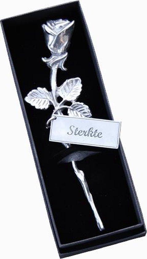 Tinnen Roos - label '' Sterkte'' - hart onder de riem - steun in de rug - luxe geschenk