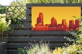 Illustratie van de skyline van Philadelphia tuinposter 160x80 cm - Tuindoek / Buitencanvas / Schilderijen voor buiten (tuin decoratie)