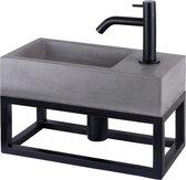 Differnz Jukon - Fonteinset beton donkergrijs - Kraan gebogen mat zwart - Met handdoekrek - 38.5 x 18.5 x 9 cm