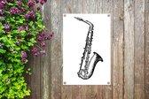 Illustratie van een saxofoon in zwart-wit tuinposter 40x60 cm - klein - Tuindoek / Buitencanvas / Schilderijen voor buiten (tuin decoratie)