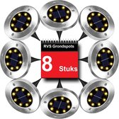 RJRQuality LED Solar Grondspots - 8 stuks - 8 LED lampjes - op Zonne-energie - Tuinverlichting - Buitenverlichting - padverlichting