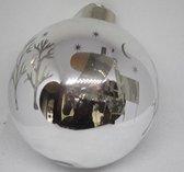 Kerstbal GLAS met LED verlichting Zilver 10 cm Ø