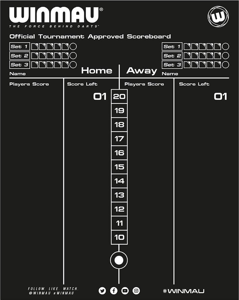 Whiteboard scorebord Winmau 40x30 dubbelzijdig
