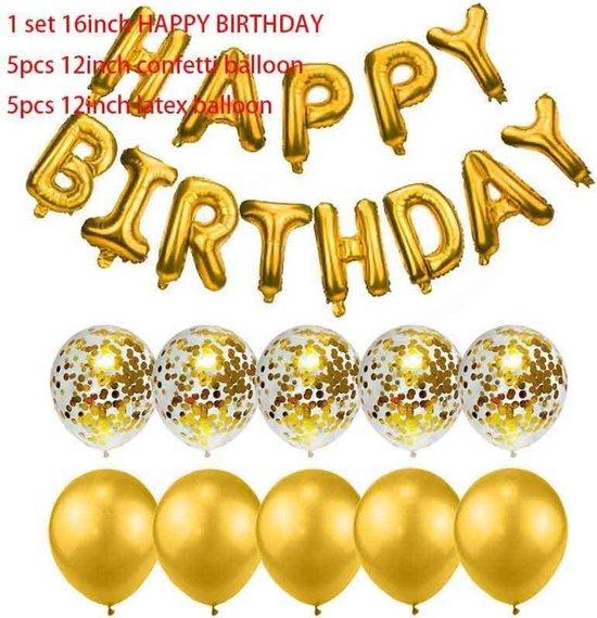 23-delig Ballonpakket HAPPY BIRTHDAY in GOUD kleur (31154)