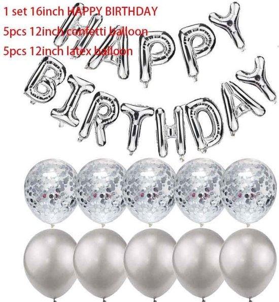 23 - delig ballonpakket HAPPY BIRTHDAY in ZILVER-kleur met aanvullende ballonnen (31153)