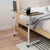 HN® Laptoptafel wit 80x40cm   Laptoptafel in Hoogte Verstelbaar   Laptoptafel op wieltjes   Bijzettafel   Notebook Standaard   Bijzettafel voor Bed Bank  