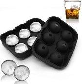 IJsbalvorm - Ijsmaker - Whiskey Ice Cubes Ijsballenvorm- 6  Vorm Ballen ZWART