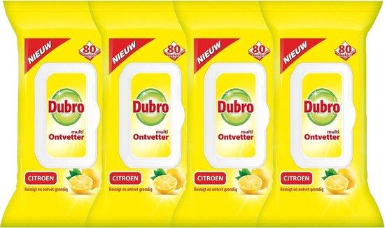 4 x 80 vochtige Dubro Doekjes Multi Ontvetter Citroen - Voordeelverpakking