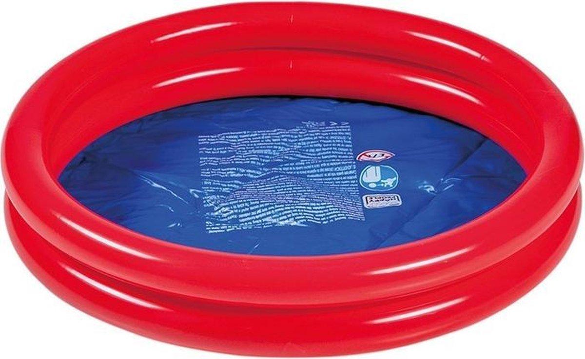 Rood/blauw rond opblaasbaar baby zwembad 60 cm - Buitenspeelgoed waterspeelgoed - Pierenbadje/kinderzwembad
