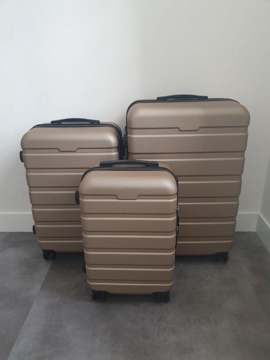 3-Delige harde kofferset ABS - Champagne Goud