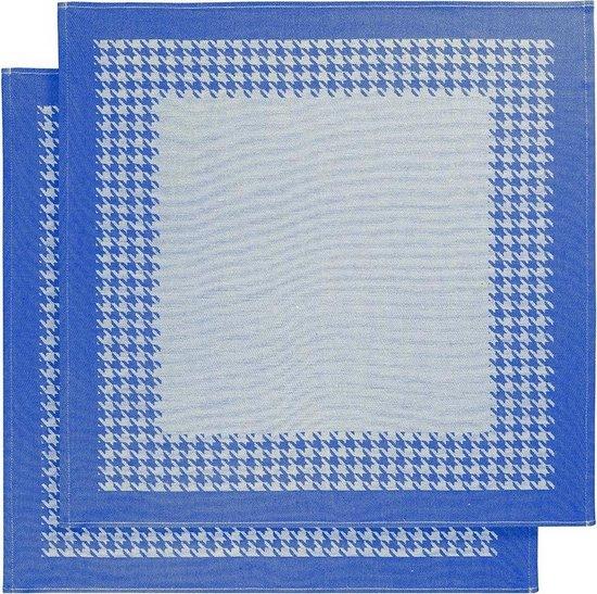 De Witte Lietaer Keukenhanddoek 65x65 Cm Katoen Wit/donkerblauw 2 Stuks