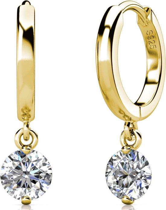 Yolora dames oorbellen met Swarovski kristal - 18K witgoud vergulde oorbellen - 925 sterling zilver - YO-E082-YG-CC