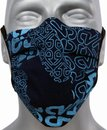Mondmasker dubbellaags zwart/blueprint beschermend katoenen masker met zilverionen   Mondkapjes   Wasbaar   Mondkapje   Europees product OEKO-TEX Standard 100 gecertificeerd