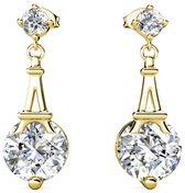 Yolora dames oorbellen met Swarovski kristal - 18K Witgoud vergulde oorhangers - YO-E004-YG-CC