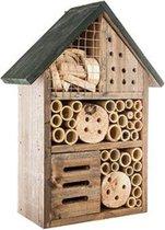 Insectenhotel - Insectenhuis - Bijenhotel - Middelgrote Versie - Natuurlijk - Tuindecoratie - Wanddecoratie - Cadeau - Donkergri