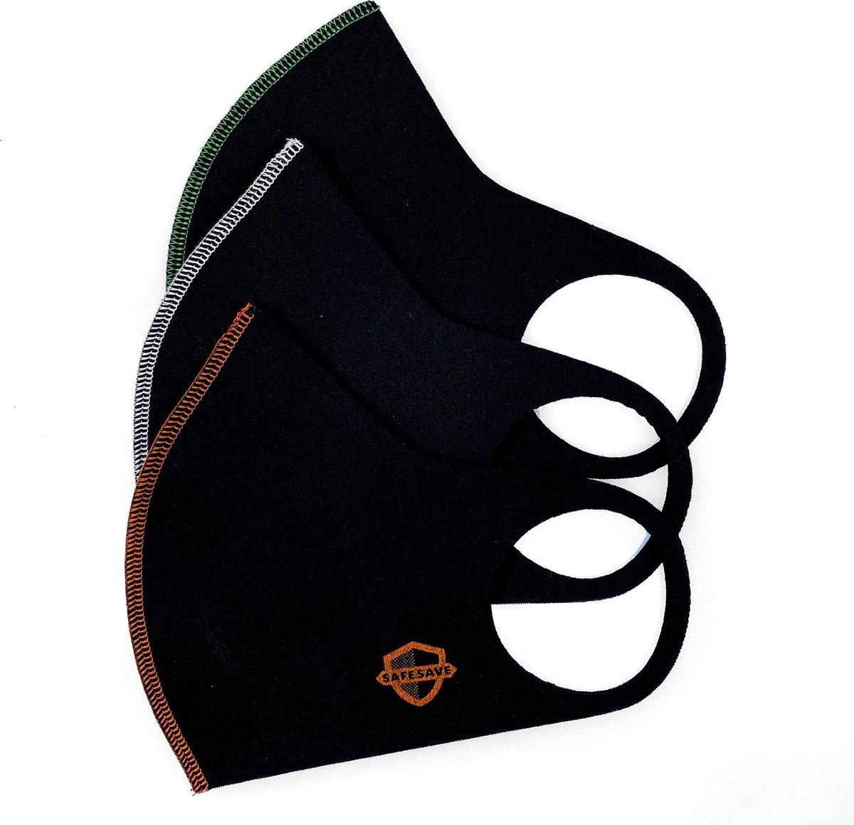 SAFESAVE niet medisch neon zwart mondkapje wasbaar en herbruikbaar- modieuze mondkapjes met print- duurzaam neopreen stoffen mondmaskers- unisex ov geschikt face mask boven 13 jaar-3 stuks - SafeSave