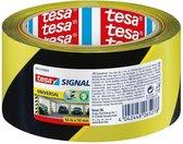 Tesa Waarschuwingstape zwart/geel 66 meter - Vloer muur tape waarschuwing vloer tape