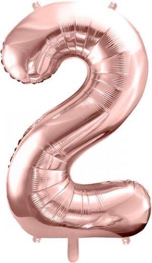 Folieballon Cijfer 2 – 2 Jaar – 86cm Groot – Rosé Goud - Verjaardag Versiering