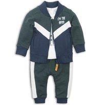 Dirkje - 3 pce Babysuit - Green + off white + navy - Mannen - Maat 62