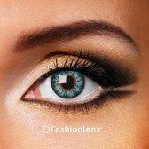 Kleurlenzen - Glossy Blue - jaarlenzen met lenshouder - blauwe contactlenzen Fashionlens®