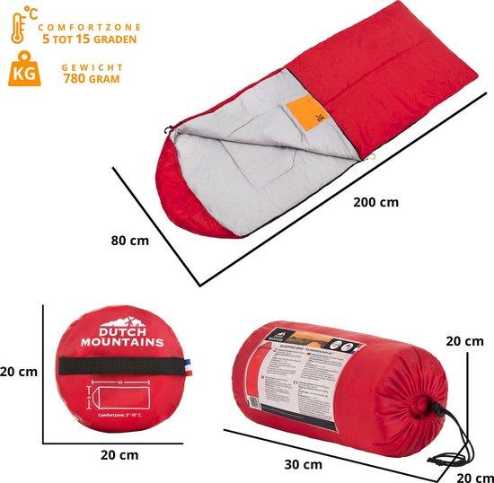 Dutch Mountains Kinder slaapzak Zuiderduintje - 165 x 65cm Polycotton - met opbergtasje - Rood