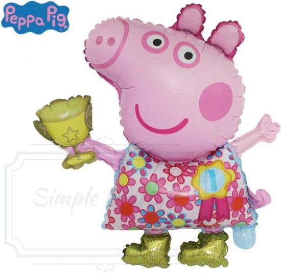Peppa Pig Big ballon Ballonnen Groot - 2 stuks Inclusief opblaas rietje - versiering decoratie feestpakket verjaardag kinderfeestje
