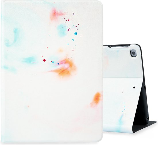 Hoppacase iPad Hoes - Voor de Apple iPad Air 1 / Air 2, 9.7 inch (2013 / 2014) A1474, A1475, A1476, A1566 en A1567 -  Abstract Wit, Oranje en Blauw  – Smart Book Case