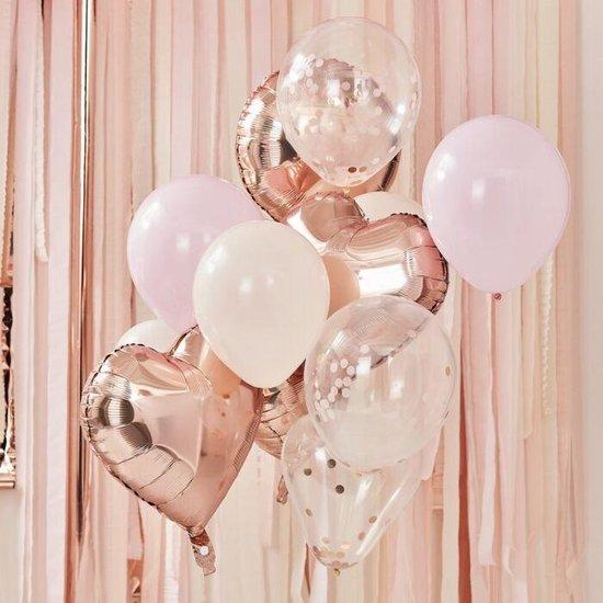 12 delige Ballonnen set met diverse modellen en kleuren rose  goud en blush - feestdecoratie - verjaardagsfeest - party - folieballonnen - confetti ballonnen