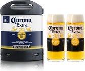 Corona Extra Bier PerfectDraft 1x 6L vat + 2 glazen - Lager (incl 5 Euro statiegeld)