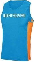FitProWear Sporthemd Slogan Lichtblauw Oranje Maat L - Sportkleding -Mouwloos - Shirt - Polyester