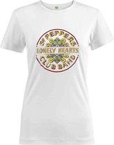 The Beatles Dames Tshirt -L- Sgt Pepper Drum Colour Wit