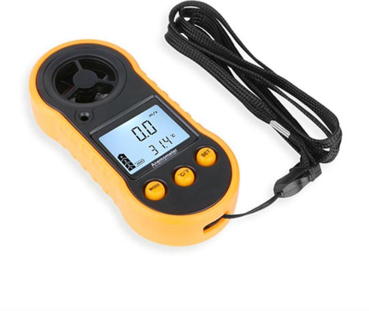 WiseGoods - Windmeter Digitaal - Anemometer - Windsnelheidsmeter - Draagbaar - Geel