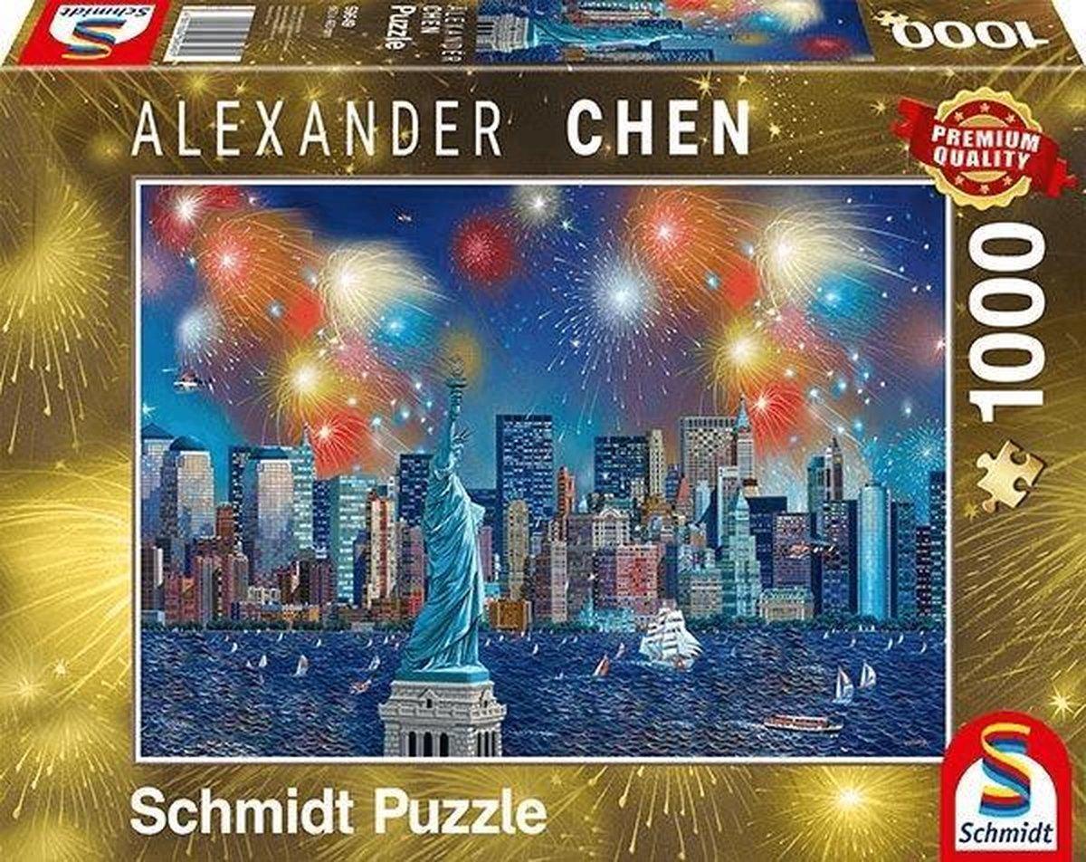 Vuurwerk bij het Vrijheidsbeeld, 1000 stukjes Puzzel