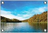 Tuinposter –Meer met Blauwe Lucht– 60x40 Foto op Tuinposter (wanddecoratie voor buiten en binnen)