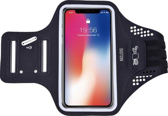 Universele Smartphone Hardloop Armband Zwart/ Hardloopband Sportband - Inclusief ruimte voor 10 pasjes en 2 sleutels- Hardloopband - Hardloop Riem Met Smartphone Houder / Geschikt voor  iPhone 11 Pro / XS / X / 8 / 7 / 6S / 6 - 100% Spatwaterdicht