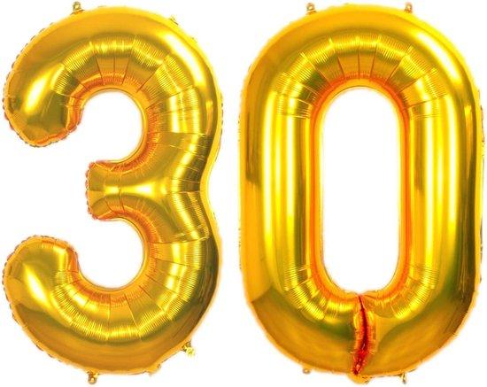 Folie Ballon Cijfer 30 Jaar Goud 70Cm Verjaardag Folieballon Met Rietje