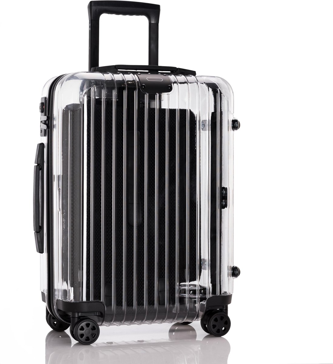 Transparante Reiskoffer 20 Inch - Stevige Doorschijnende Lichtgewicht Trolley - Modern en Hippe Valies - TSA Slot - 4 Zwenkbare Wielen - Kwaliteitsvolle Materialen - 50 Cm - 44 Liter kopen