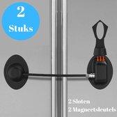 Gohh® Koelkast sloten met Magneetsleutels 2 Stuks Zwart