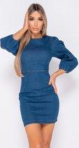 PARISIAN Puffed Sleeve Denim Bodycon Dress- Dames - Blauw