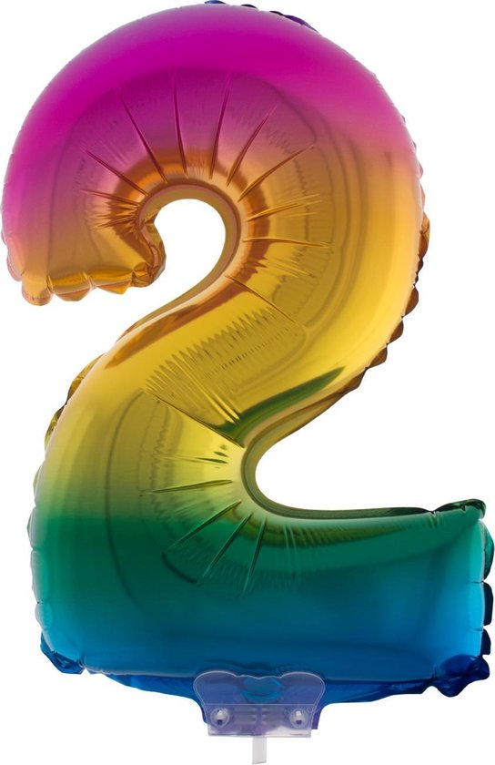 Cijferballon folie nummer 2 | Opblaascijfer 2 regenboog 41cm