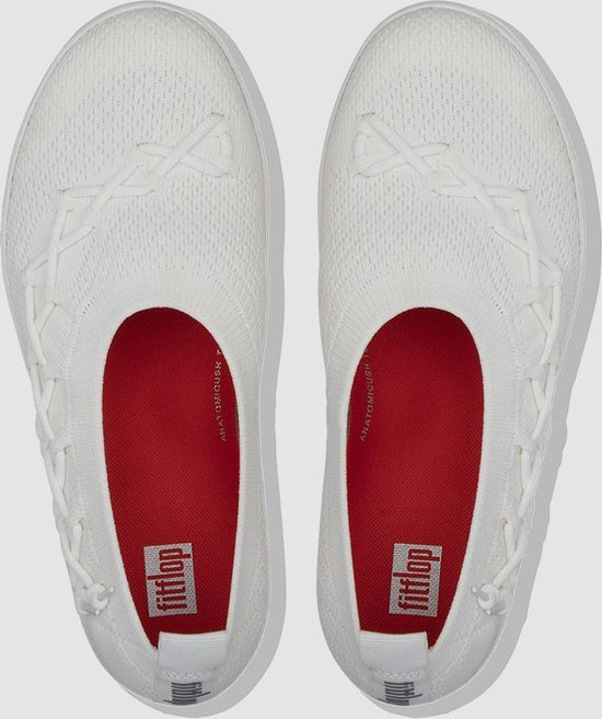 FitFlop™ Corsetted Knit Ballerina's Poly/nylon Urban White - Maat 42