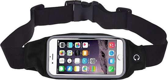 Running Belt Heupband Sportriem Hardloop Band Zwart – Riem met Smartphone Houder  Sport Heuptasje - Fitness – Universeel voor telefoons (Samsung, Huawei, Apple iPhone)