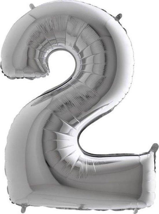 Grabo Balloons - Folieballon - Cijfer 2 - zilver - 66cm