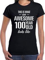 Awesome 100 year - geweldig 100 jaar cadeau t-shirt zwart dames -  Verjaardag cadeau L