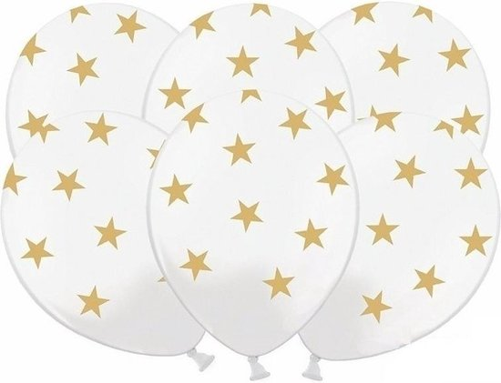 24x stuks Witte ballonnen met gouden sterren - Oud- en nieuw - Bruiloft - Verjaardag - Thema feestartikelen
