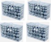 4x stuks pakket met 100x zilveren kunststof kerstballen 3, 4 en 6 cm - Kerstboomversiering/kerstversiering zilver / 400 zilveren kerstballen
